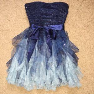 Dark blue to light blue dress.
